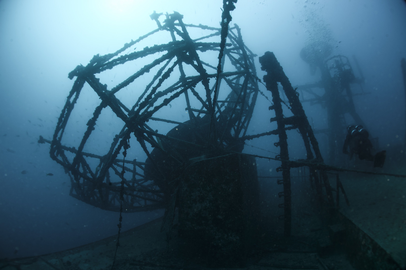 150113-N-YD328-095  KEY WEST, Fla. (Jan. 13, 2015) Construction Mechanic 1st Class Brandon Burrow, assigned to Underwater Construction Team One (UCT ONE), surveys the wreckage of USNS General Hoyt S. Vandenberg (T-AGM-10) during diver training aboard the U.S. Army large landing craft USAV Matamoros (LCU-2026). Diver training is a two-week, joint training evolution designed to reinforce standard operating procedures, qualify personnel, maintain proficiency, and evaluate dive protocol during scuba, surface supplied and recompression chamber operations. (U.S. Navy photo by Mass Communication Specialist 2nd Class Nicholas S. Tenorio/Released)