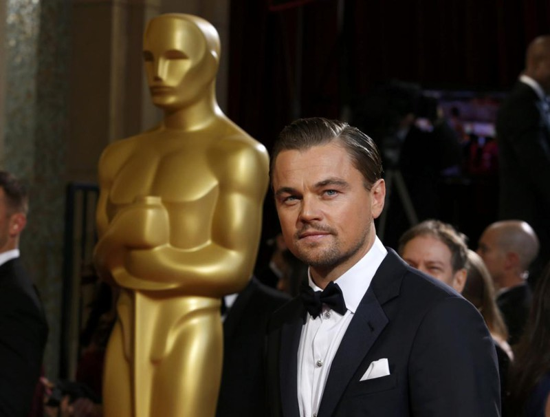 """Leonardo DiCaprio, best actor nominee for his role in the film """"The Wolf of Wall Street"""", arrives at the 86th Academy Awards in Hollywood"""